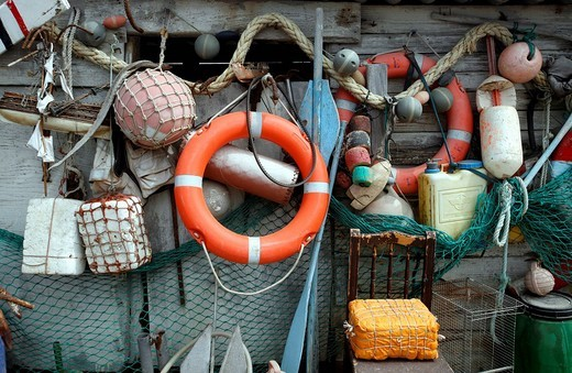 Collection of seafaring and fishing utensils, Fuerteventura, Spain : Stock Photo