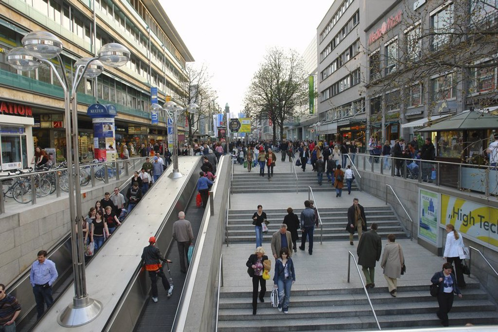 Group of people in city street, Koenigstrasse, Stuttgart, Germany : Stock Photo