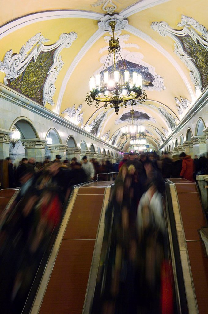 Blurred view of commuters in metro station, Komsomolskaya, Moscow, Russia : Stock Photo
