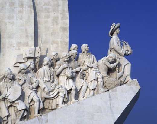 Monument against clear blue sky, Monument to the Discoveries, Belem, Lisbon, Portugal : Stock Photo