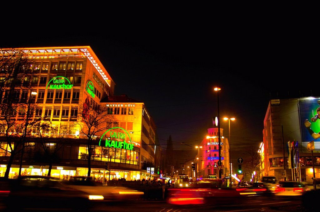 Stock Photo: 1841-24304 Buildings lit up at night in city, Munich, Bavaria, Germany