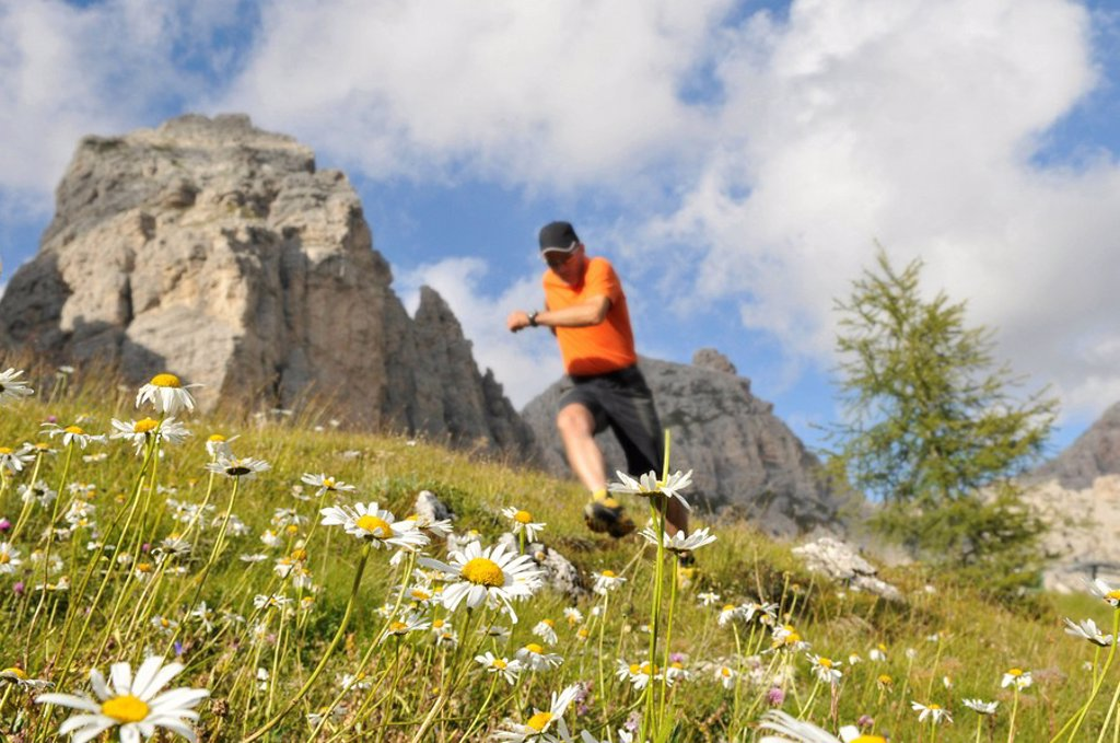 Stock Photo: 1841-2434 Low angle view of mature man running in field, Trentino_Alto Adige, Italy