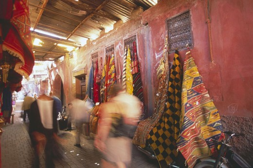 Stock Photo: 1841-24439 Blurred view of people in street market, Djemma El Fna Square, Marrakesh, Morocco