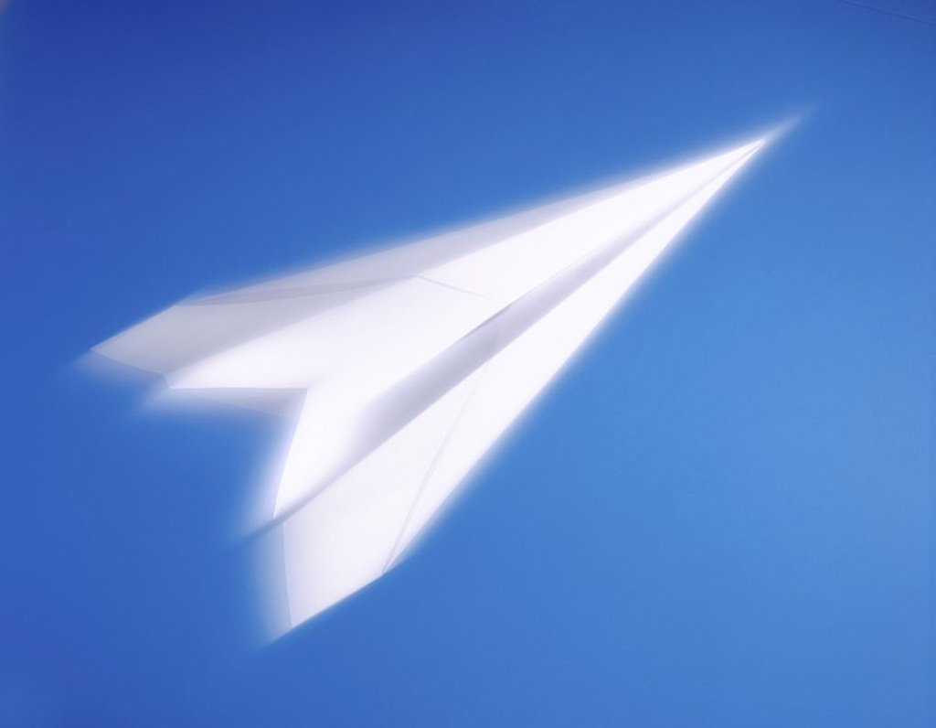 Close_up of paper airplane : Stock Photo