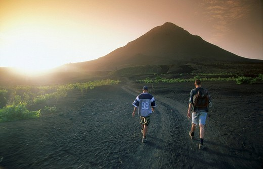 Stock Photo: 1841-26676 Tourists walking on volcanic landscape, Pico Do Fogo, Fogo Island, Cape Verde Islands