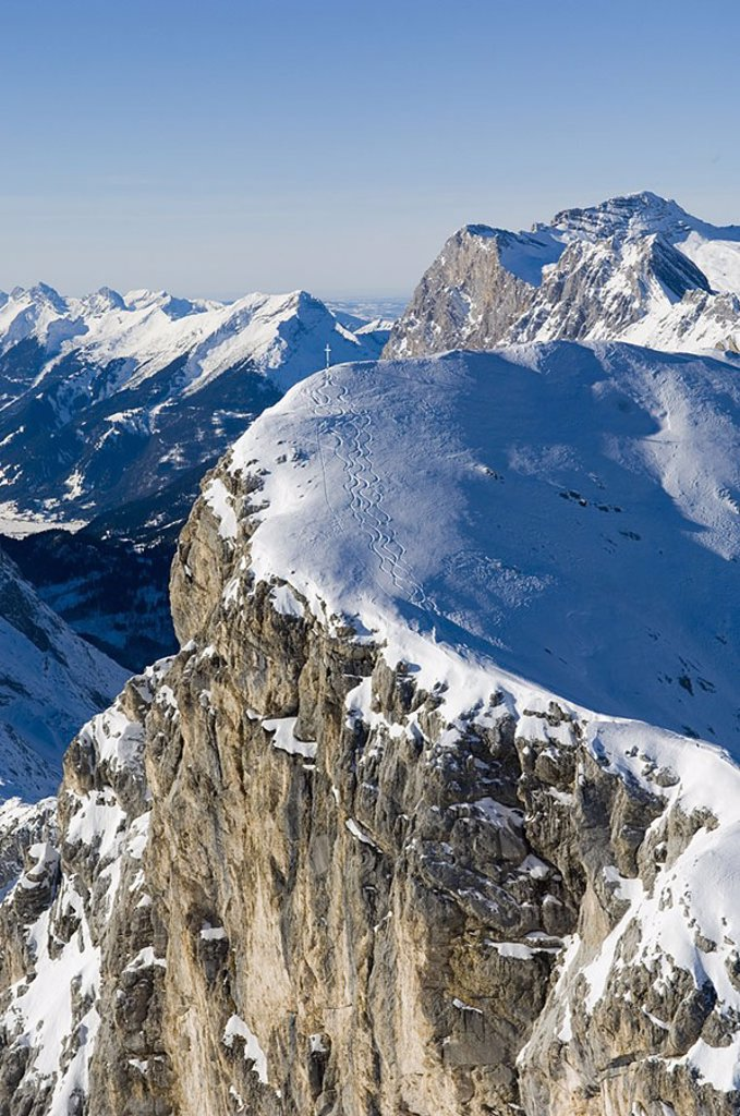 Snow covered mountain peaks against sky, Austria : Stock Photo