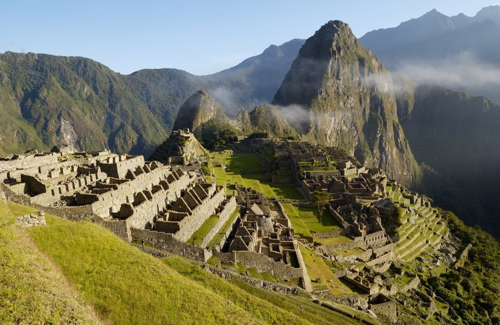 Stock Photo: 1841-27826 High angle view of old ruins on mountain, Inca Ruins, Machu Picchu, Cusco Region, Peru