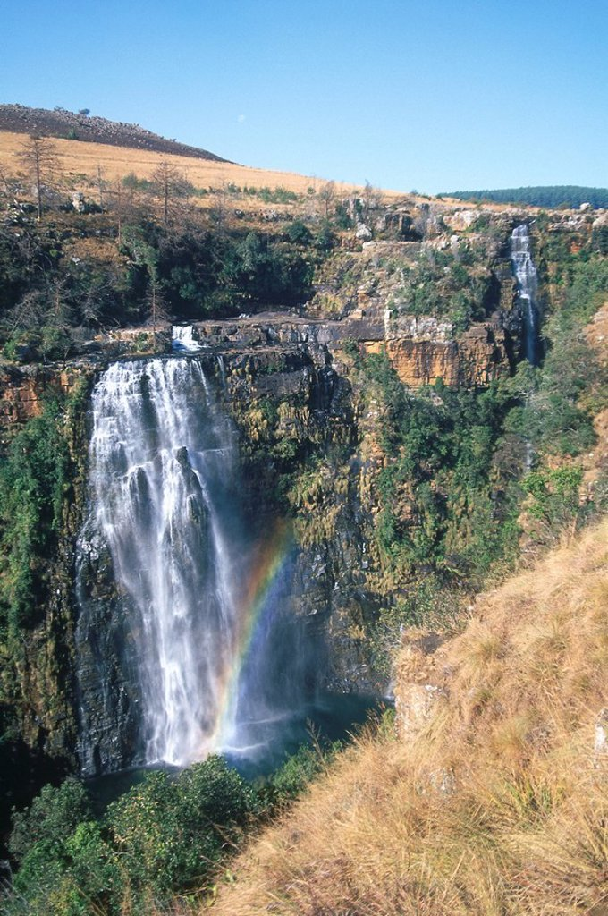 Rainbow formation near a waterfall, Lisbon Falls, Mpumalanga, South Africa : Stock Photo