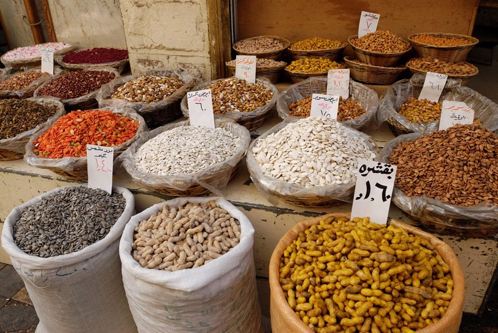 Mixed spices at market, Amman, Jordan : Stock Photo