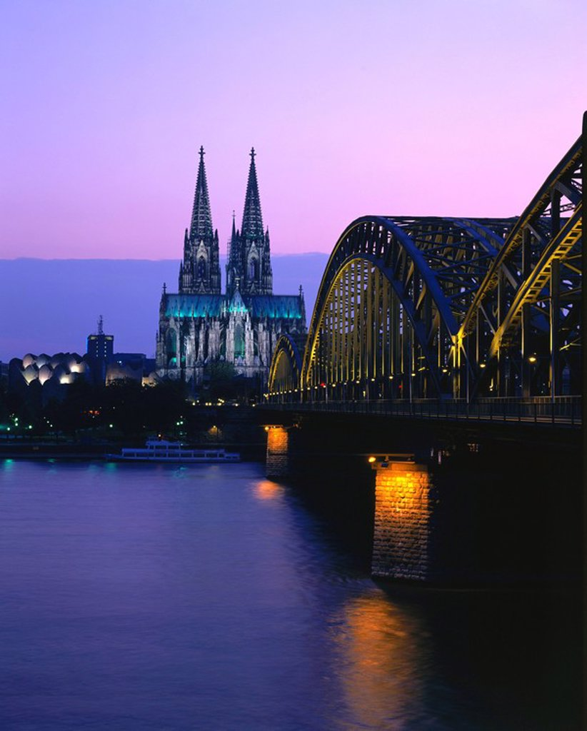 Railroad Bridge across river at dusk, Hohenzollern Bridge, Cologne, Germany : Stock Photo