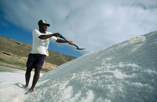 Stock Photo: 1841-30408 Person working at salt production, Pedra da Lume, Cape Verde
