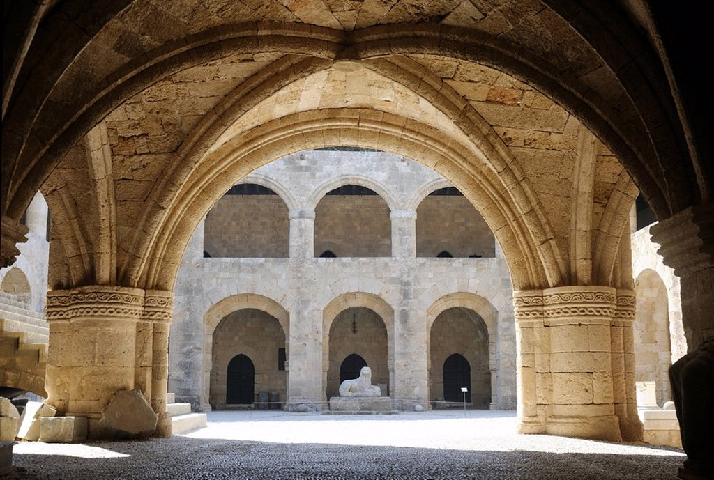 Courtyard of the Archaeological Museum, Rhodes, Greece : Stock Photo