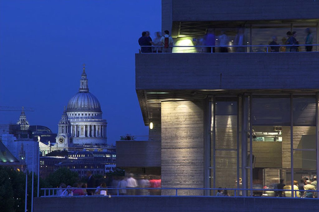 Buildings in city at dusk, St Pauls Cathedral, National Theatre, London, England : Stock Photo