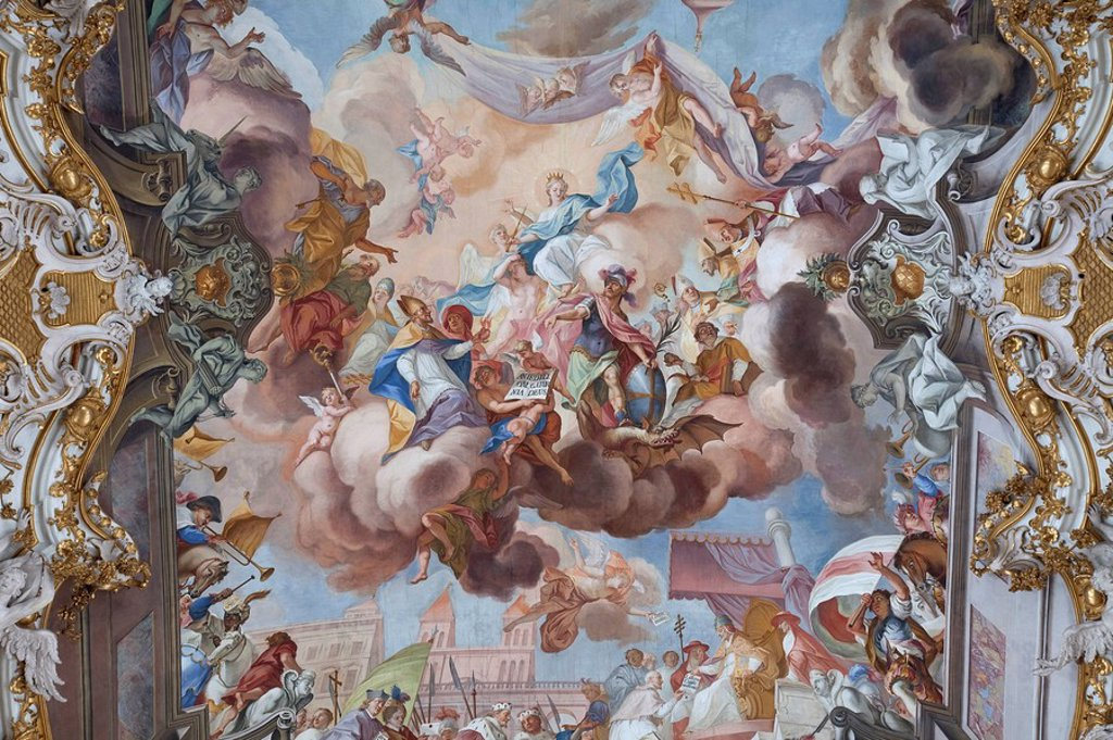 Ceiling fresco of a church, Diessen am Ammersee, Germany, directly below : Stock Photo