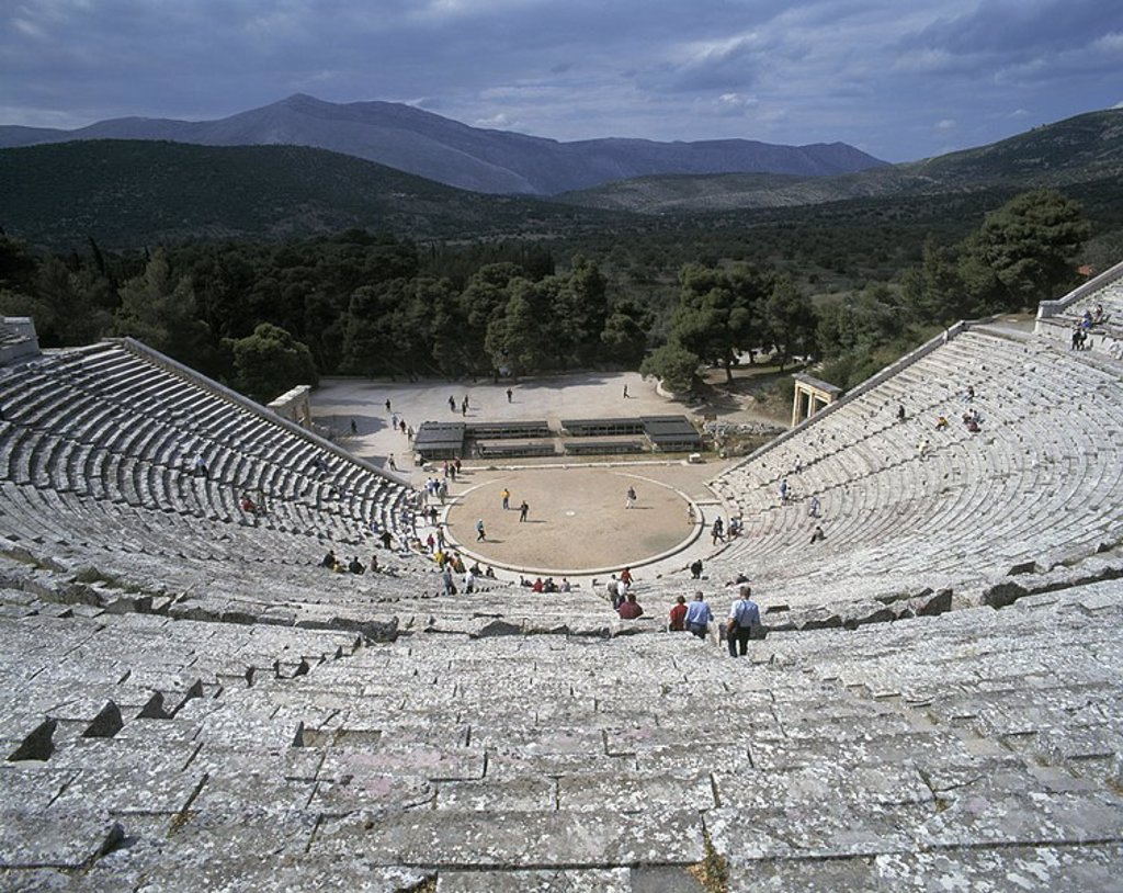High angle view of tourists in amphitheater, Peloponnese, Greece : Stock Photo