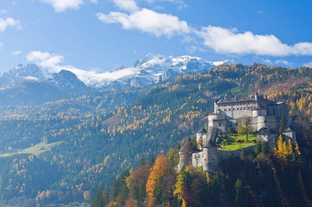 Fort on hill, Werfen, Hohenwerfen, Berchtesgaden Alps, Pongau, Salzburgerland, Austria : Stock Photo