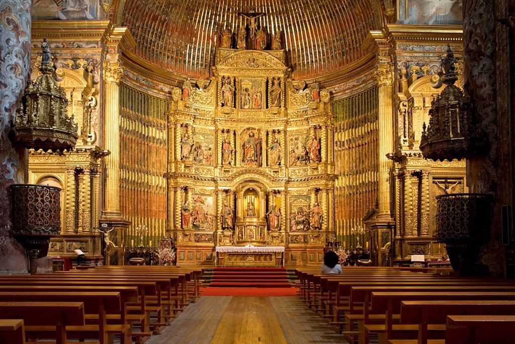 Interior of a church, looking towards the altar, Elciego, Spain : Stock Photo