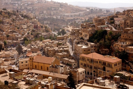 View over the downtown area of Salt, Jordan, elevated view : Stock Photo