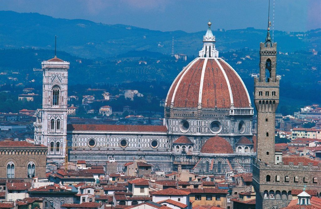 Dome of cathedral, Florence Cathedral, Florence, Tuscany, Italy : Stock Photo