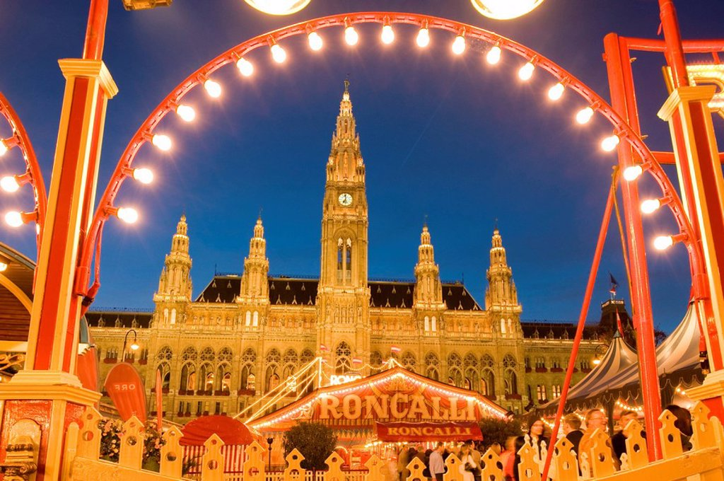 Circus in front of the town hall in Vienna, Austria, low angle view : Stock Photo