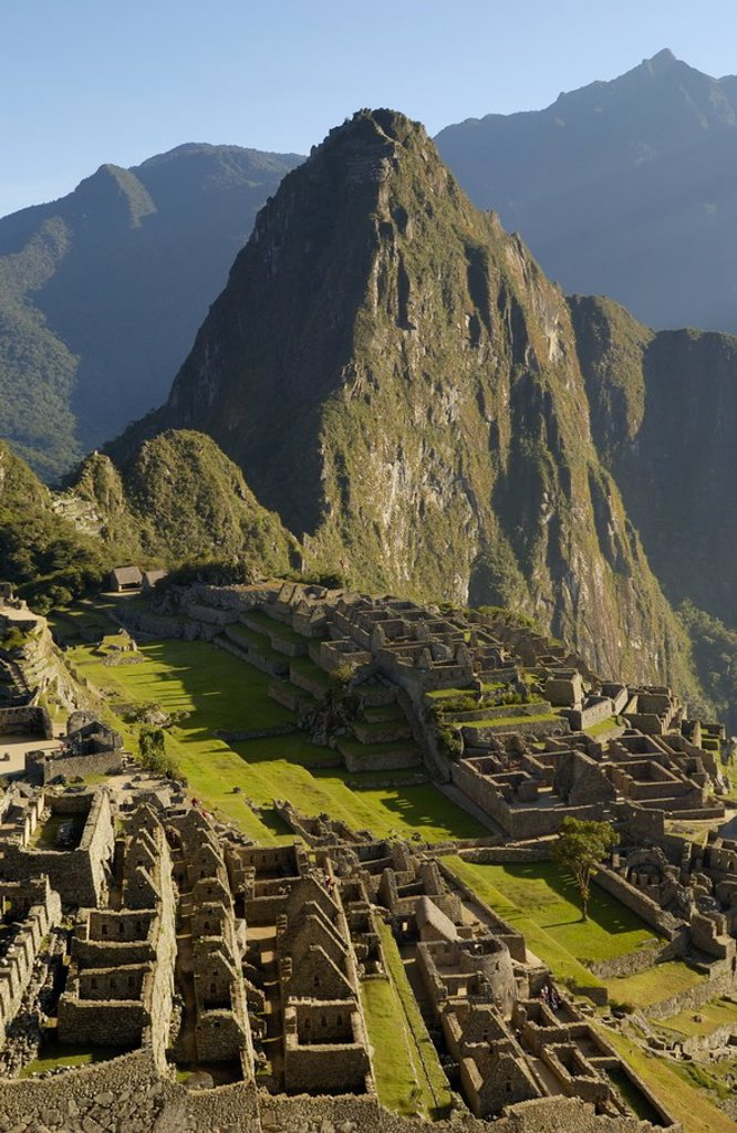 Stock Photo: 1841-3327 High angle view of old ruins on mountain, Inca Ruins, Machu Picchu, Cusco Region, Peru