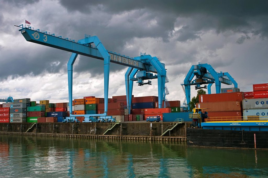 Container port in Wiesbaden, Germany : Stock Photo
