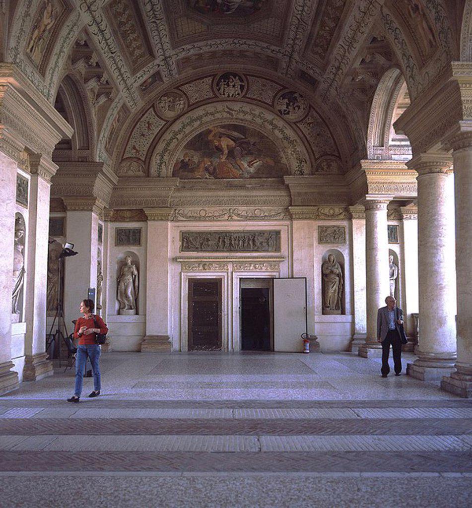 Stock Photo: 1841-35973 Two tourists inside museum, Mantua, Italy