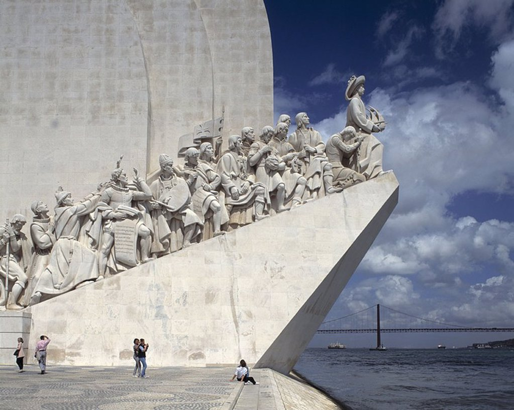 Tourists at discoveries monument, Monument to the Discoveries, Belem, Lisbon, Portugal : Stock Photo