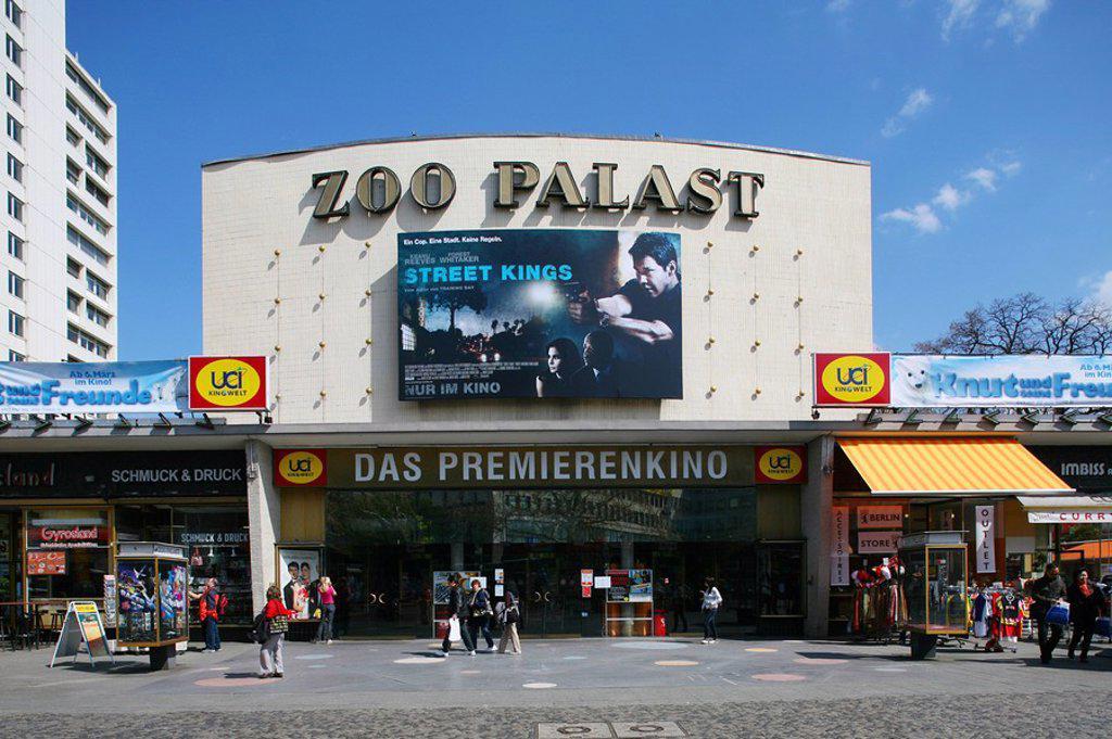 Facade of cinema hall, Zoo Palast, Charlottenburg, Berlin, Germany : Stock Photo