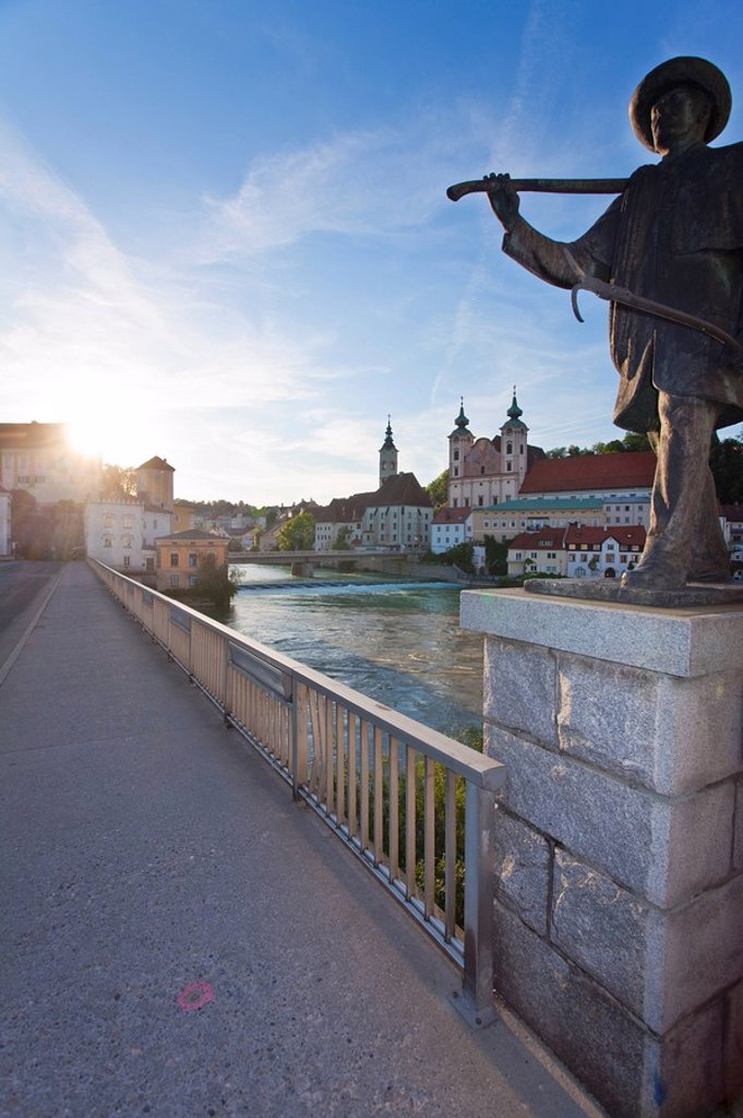 Lambach and Rivers Enns and Steyr, Steyr, Upper Austria, Austria : Stock Photo