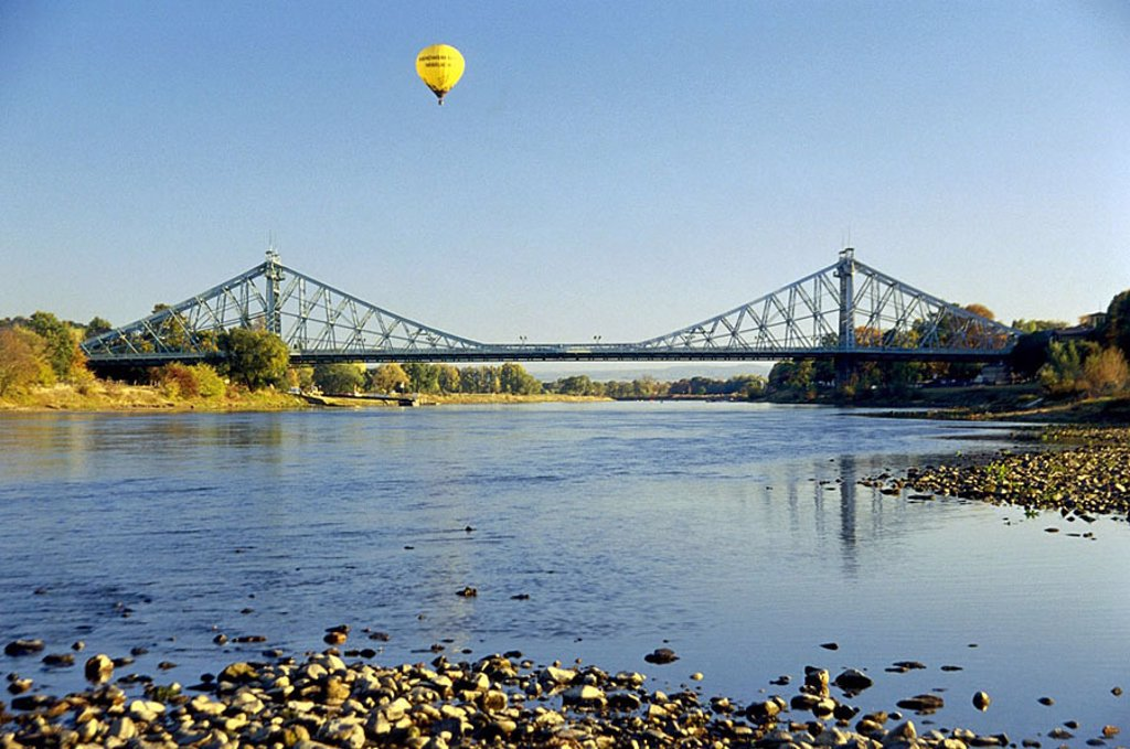 Stock Photo: 1841-37376 Suspension railway bridge across river, Elbe River, Blaues Wunder, Dresden, Saxony, Germany