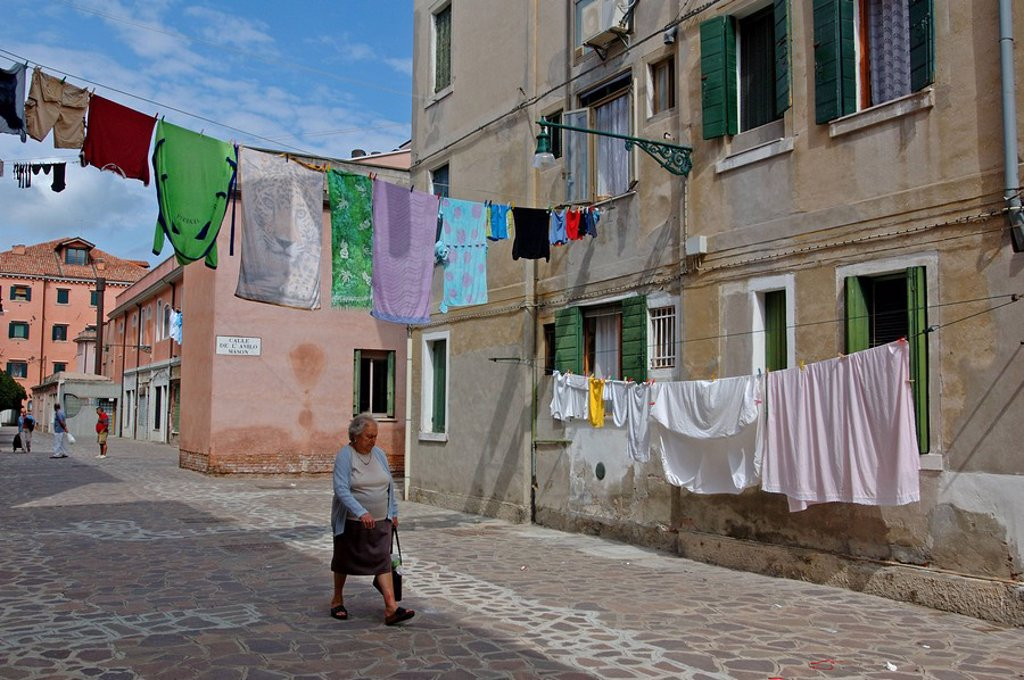 Laundry drying on clotheslines in an alley, Giudecca, Venice, Italy : Stock Photo