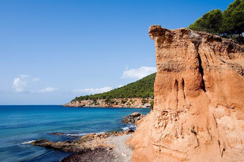 Coast of Sa Caleta, Ibiza, Spain, elevated view : Stock Photo