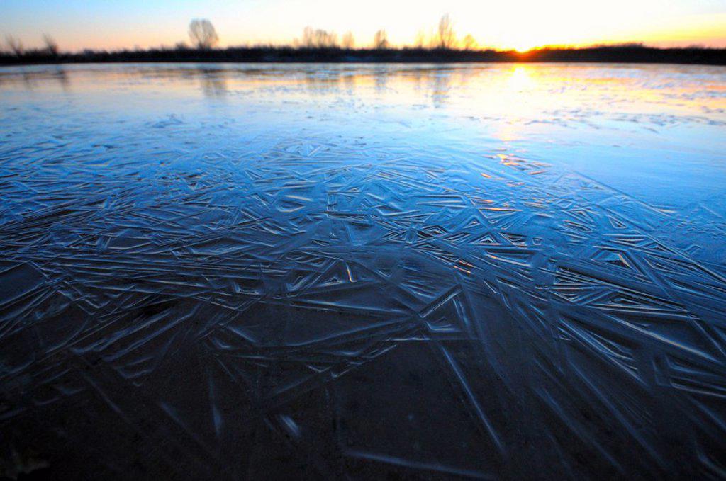 Sunset over frozen lake, Bavaria, Germany : Stock Photo