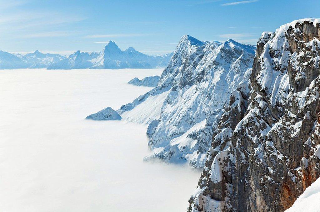 Stock Photo: 1841-38759 Fog shrouding Berchtesgaden Alps, Watzmann in the background, Austria, elevated view