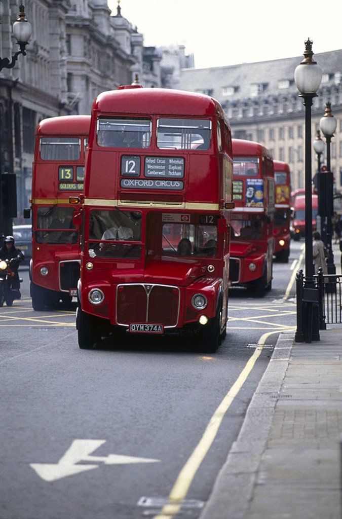 Double_decker buses on road : Stock Photo