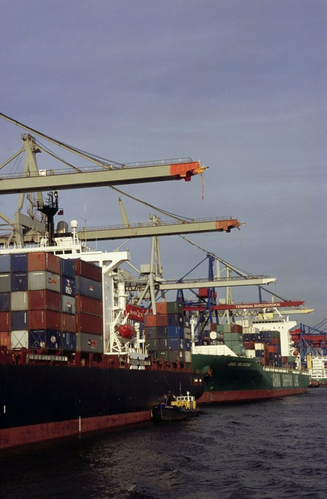Stock Photo: 1841-39023 Cranes and container ship at port, Elbe River, Hamburg, Germany