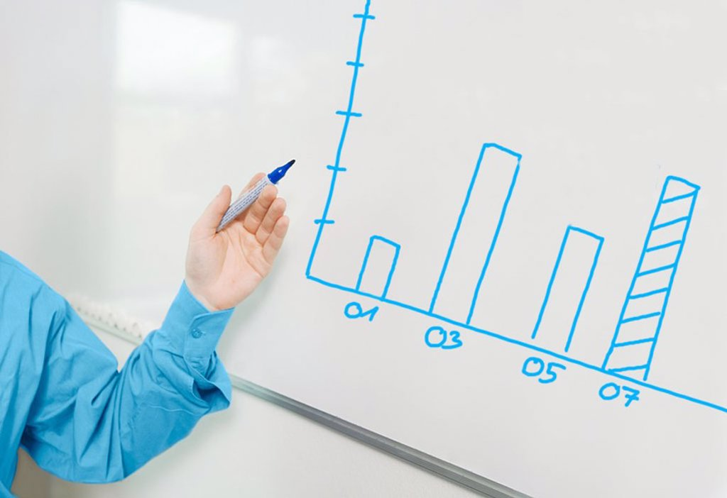 Stock Photo: 1841-3923 Close_up of man´s hand pointing towards whiteboard