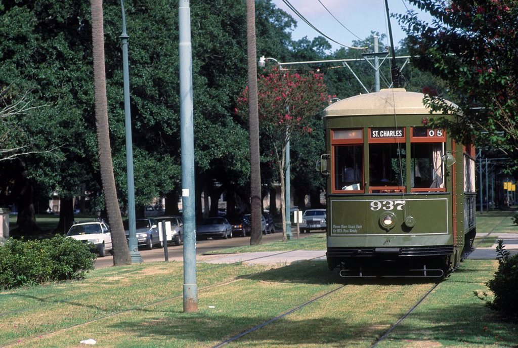 Cable car on tracks, St. Charles Streetcar, New Orleans, Louisiana, USA : Stock Photo