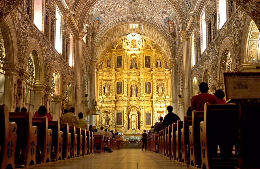 Stock Photo: 1841-39730 People in cathedral, Santo Domingo Church, Oaxaca, Mexico