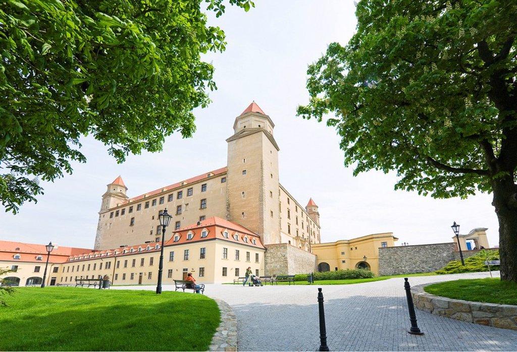 Facade of castle, Bratislava, Slovakia : Stock Photo