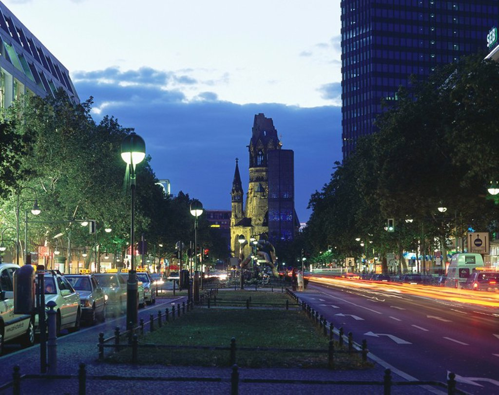 Church in city at night, Church Of Remembrance, Tauentzienstrasse Avenue, Berlin, Germany : Stock Photo