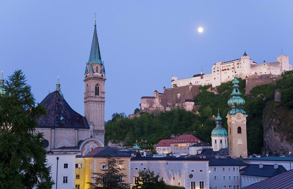 Low angle view of castle on hill, Kollegienkirche, Hohensalzburg Fortress, Salzburg, Austria : Stock Photo