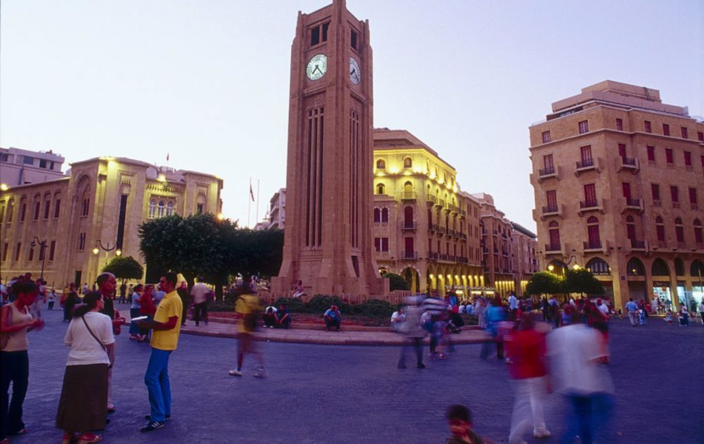 Tourist around bell tower in city, Beirut : Stock Photo