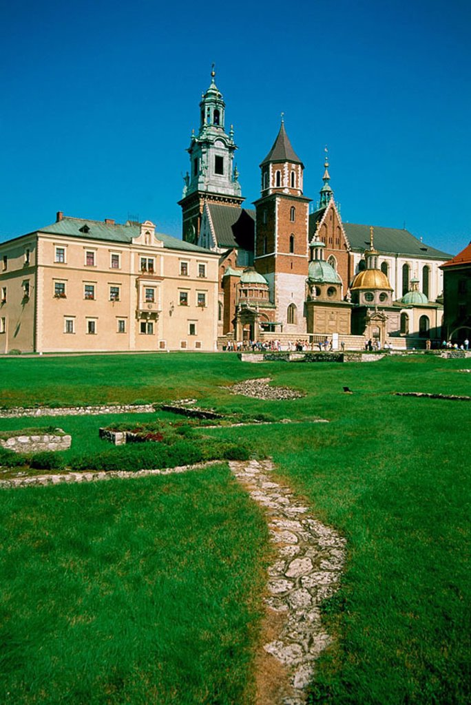 Lane in font of castle, Wawel Castle, Krakow, Poland : Stock Photo