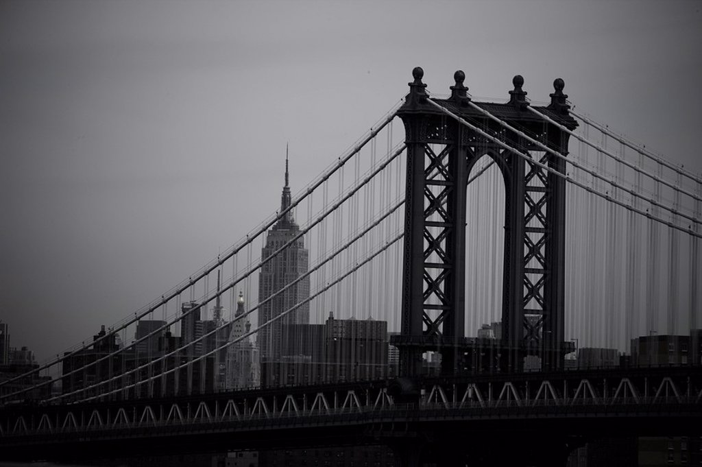Stock Photo: 1841-41103 The Manhattan Bridge with the Empire State Building in the background, New York City, USA