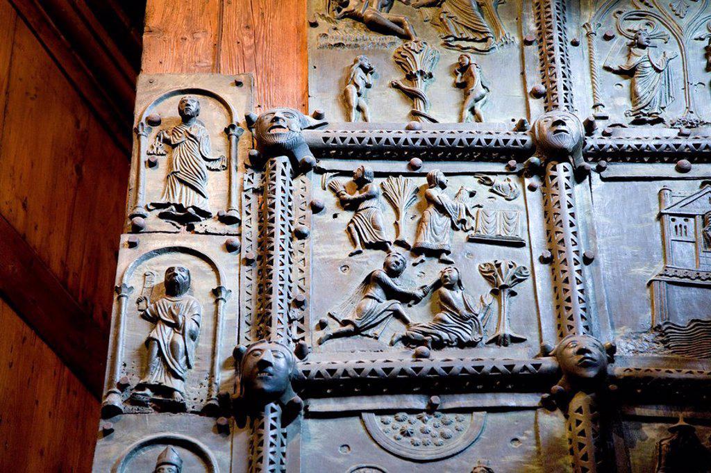 Bronze plates at the porch of the San Zeno Maggiore, Verona, Italy, detail : Stock Photo