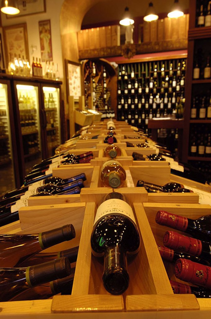 Stock Photo: 1841-42175 High angle view of assorted bottles of wines