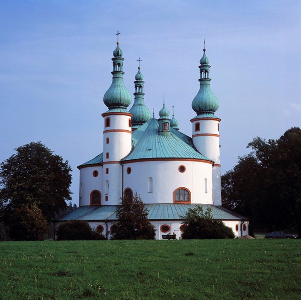 Cathedral against blue, Holy Trinity Chapel, Upper Palatinate, Bavaria, Germany : Stock Photo