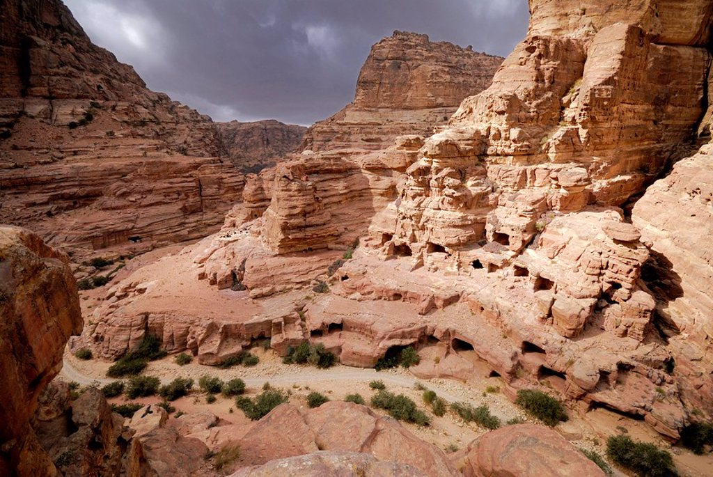 Stock Photo: 1841-43385 Rock formations on landscape, Petra, Wadi Musa, Jordan